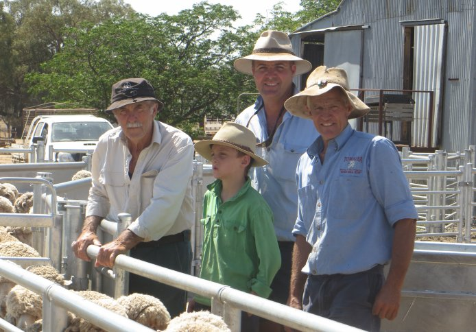 Warick with his long-time Towalba clients Graham, Robert and Charlie Grimm of Grenfell.